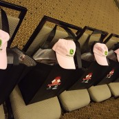 Goodie bags, complete with John Deere hats for the eight NFOB finalists.