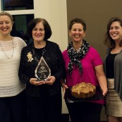 Ronna Farley pictured with representatives from King Arthur Flour, the winner of the champion bread auction.