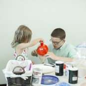 Kids enjoying the hands on learning portion of the NFOB