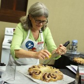 Merry Graham working in her kitchen.