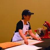 Jane Fry making her 2017 NFOB finalist bread, Southwest Focaccia