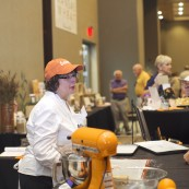 Pam Correll baking her 2017 NFOB finalist bread, Orange Marmalade Breakfast Crescents