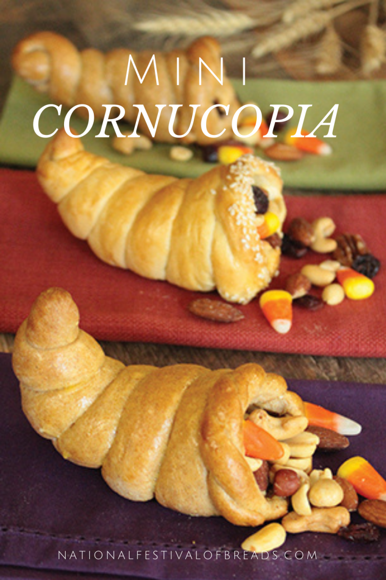 These Mini Cornucopia rolls are the perfect addition to any Thanksgiving celebration! Make these cornucopias a new tradition to be thankful for in your family, and stuff them with your kiddos' favorite candies or trail mixes.