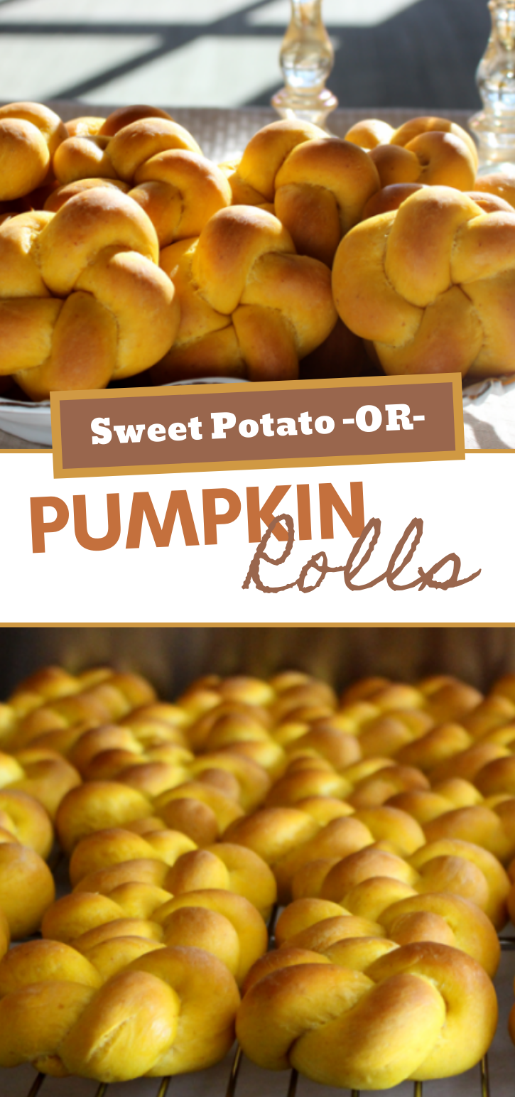 You can make these tasty rolls with either sweet potatoes OR pumpkin! You choose your own adventures in baking!