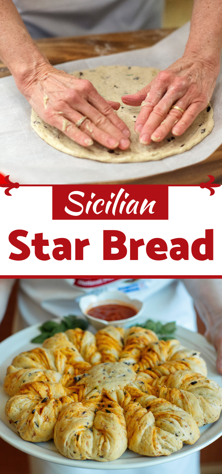 This bread recipe incorporates all of the flavors of Sicily in one beautiful loaf! (And making the star isn't nearly as hard as it looks, but your mother-in-law doesn't have to know that. :) )