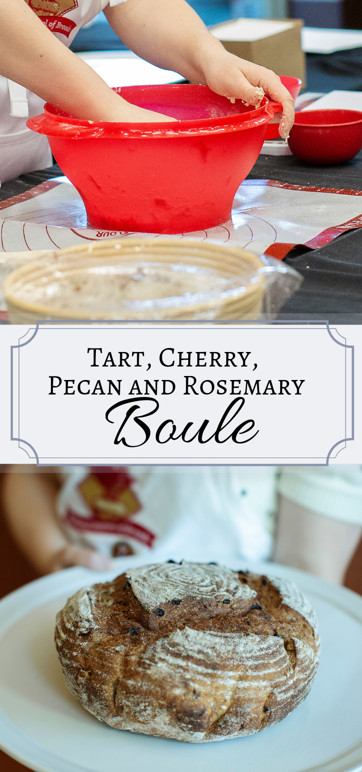 The Tart Cherry, Pecan and Rosemary Boule is a rustic bread that will kick any get together up a notch or two.