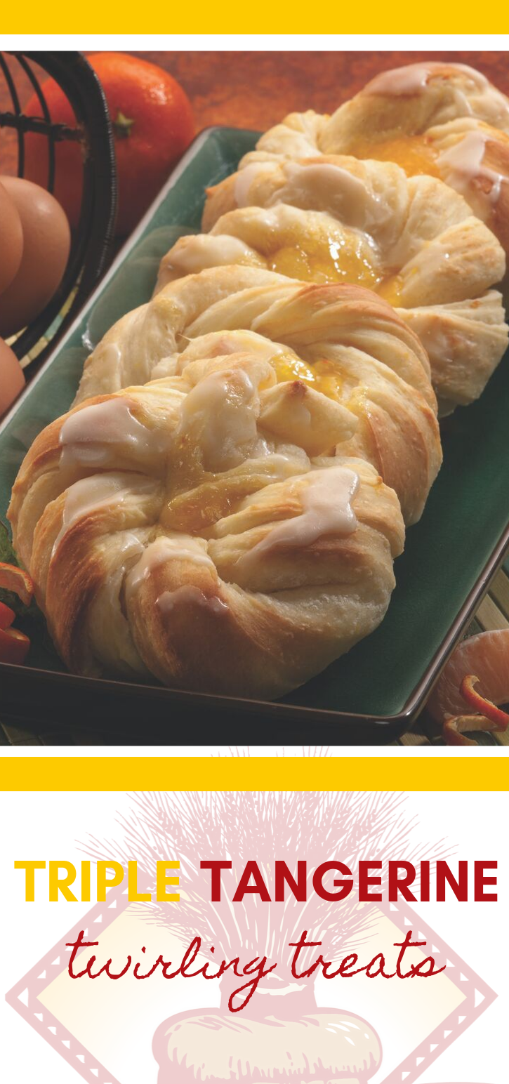 Triple Tangerine Twirling Treats are just as charming as they sound! These sweet bread rolls are delightful!