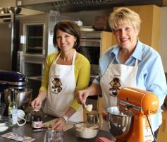 Photo: Julene DeRouchey and Cindy Falk in the Kansas Wheat Test Kitchen.