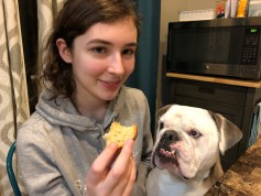 Duncan, the English Bulldog, is also a fan of Lauren's cooking.