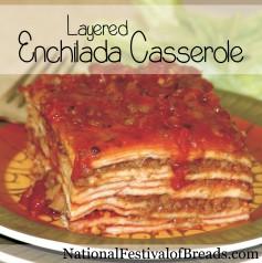 Image: Layered Enchilada Casserole.