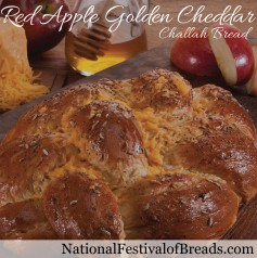 Photo: Red Apple Golden Cheddar Challah Bread.