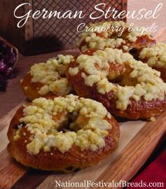 Image: German Streusel Cranberry Bagels.
