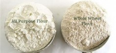 Image: Picture compares whole wheat flour to white flour. Picture courtesy of King Arthur Flour.
